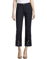 Elie Tahari - Kiana Embellished Cropped Jeans - Lyst