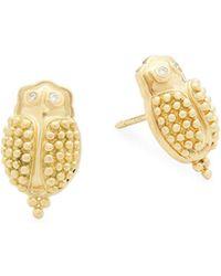 Temple St. Clair - Scarab Diamond & 18k Yellow Gold Stud Earrings - Lyst