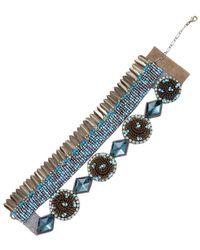 Deepa Gurnani Brass Feather & Beaded Statement Bracelet