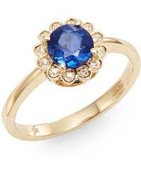 Effy - Final Call Sapphire, Diamond & 14k Yellow Gold Ring - Lyst