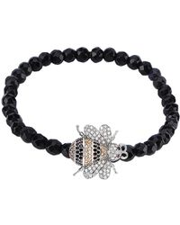 Gabi Rielle - Sterling Silver & Black Spinel Honey Bee Charm Bracelet - Lyst
