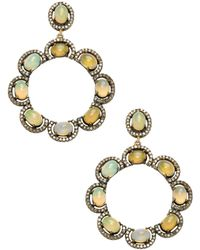 Karma Jewels - 14k Gold & Sterling Silver Opal & Diamond Earrings - Lyst