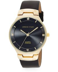 Adrienne Vittadini - Diamond Goldtone & Faux Leather Strap Watch/37mm - Lyst