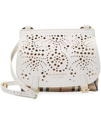 Burberry - Lasecut Leather And Plaid Crossbody Bag - Lyst