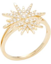 Artisan - 18k Yellow Gold & 0.34 Total Ct. Diamond Split Shank Star Ring - Lyst