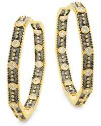 Freida Rothman - Octagon Crystal, Sterling Silver And 14k Gold Hoop Earrings - Lyst