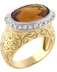 Seidengang - Estate 18k Yellow Gold, Citrine & 0.30 Total Ct. Diamond Ring - Lyst