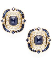 Jyoti New York - Eternally Beautiful Sapphire & Pave Diamond Stud Earrings - Lyst