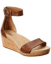 UGG Women's Zoe Ii Leather Wedge - Brown