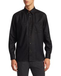 Luciano Barbera - Black Overshirt With Suede Undercollar - Lyst