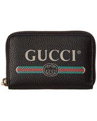 Gucci - Logo Print Leather Zip Around Wallet - Lyst