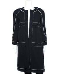 Chanel - Black & White Ribbed Long Jacket, Size Fr 38, Never Worn - Lyst