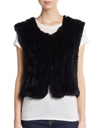 Saks Fifth Avenue - Cropped Rabbit Fur Vest - Lyst