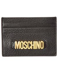Moschino - Logo Plaque Leather Card Holder - Lyst