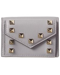 Valentino Rockstud Small Leather Wallet - Gray