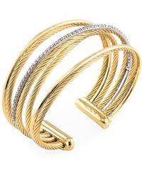 David Yurman - Vintage 18k Two-tone Gold & 0.67 Total Ct. Diamond Crossover Four Row Cuff Bracelet - Lyst