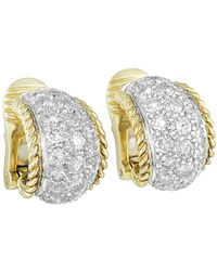 Heritage Tiffany & Co. - Tiffany & Co. 18k & Platinum 3.00 Ct. Tw. Diamond Huggie Hoops - Lyst