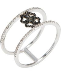 CR By Casa Reale - 14k Black Diamond & White Diamond 4 Heart Clover Ring - Lyst