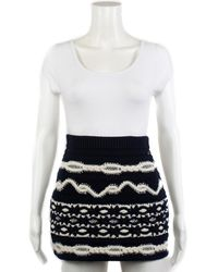 Chanel - Pre-fall 2018 Navy Glitter Wool & Cashmere-blend Mini Skirt, Size It 34 - Lyst