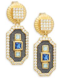 Freida Rothman - Modern Mosaic Petite Crystal, 14k Gold & Sterling Silver Drop Earrings - Lyst