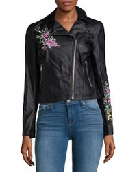Philosophy - Embroidered Faux Leather Moto Jacket - Lyst