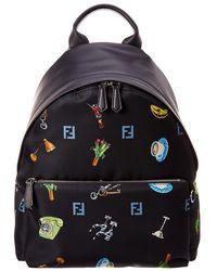 8385b59eeadf Fendi Butterfly Leather   Tech-twill Backpack in Black for Men - Lyst