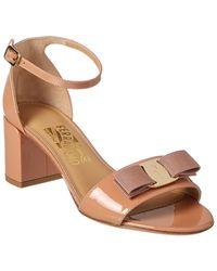Ferragamo Vara Patent Ankle Strap Sandal