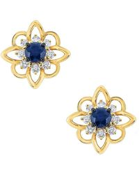 KC Designs - Sapphire & Diamond Yellow Gold Flower Stud Earrings - Lyst