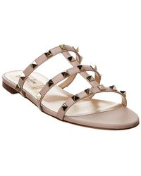 Valentino - Rockstud Caged Leather Slide - Lyst