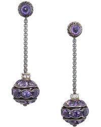 David Yurman - David Yurman Silver 16.08 Ct. Tw. Diamond & Amethyst Earrings - Lyst