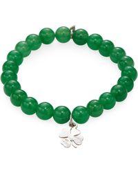 Anzie - Boheme Jade & Hanging Clover Charm Bracelet - Lyst