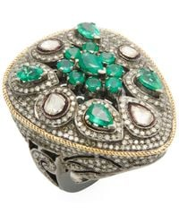 Jyoti New York - Silver, 4.12 Total Ct. Diamond & Emerald Cocktail Ring - Lyst