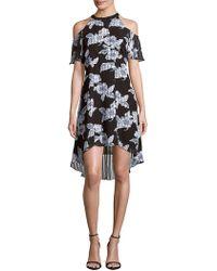 Julia Jordan - Printed Cold-shoulder Dress - Lyst