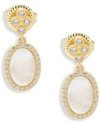 Freida Rothman - Classic Cubic Zirconia And Sterling Silver Small Oval Mother-of-pearl Pave Slice Drop Earrings - Lyst