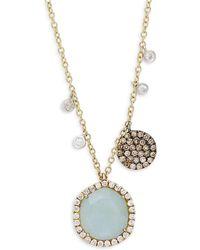 Meira T - Diamonds, Aqua Stone And 14k Yellow Gold Round Pendant Necklace, 0.43 Tcw - Lyst