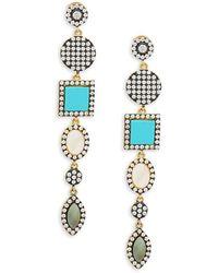 Freida Rothman - Geo Pavé Multi-stone And Sterling Silver Drop Earrings - Lyst