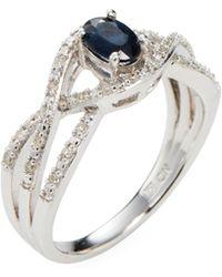 Rina Limor - Sapphire & Diamond Crossover Ring - Lyst