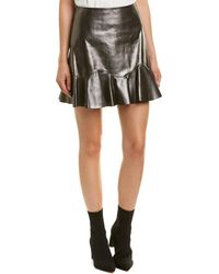 cb728f933 Rebecca Taylor Faux-Leather Flounce Skirt in Black - Lyst