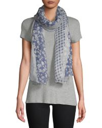 Vince Camuto - Torn Floral And Textile Scarf - Lyst