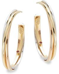 Roberto Coin - Basic Gold 18k Yellow Gold Hoop Earrings- 1.25in - Lyst