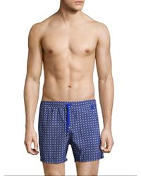 Luciano Barbera - Blue Vintage Floral Print Swim Trunk - Lyst