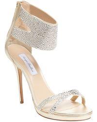 Monique Lhuillier - Embellished Metallic Leather Ankle-wrap Sandal - Lyst