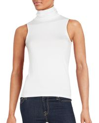Saks Fifth Avenue Black Stretch Jersey Sleeveless Turtleneck