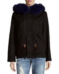 AVA & KRIS - Cotton Lila Dyed Fur Parka - Lyst