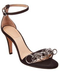 a80274e56 Chloé Reese Chain-embellished Suede Sandals in Black - Lyst