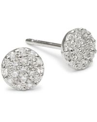 Danni - Diamond And 14k White Gold Round Stud Earrings - Lyst