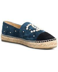 Chanel - Blue & Black Suede Espadrilles, Size 39 - Lyst