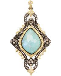 Armenta - Old World 18k Gold, Turquoise, Moonstone & 0.64 Total Ct. Diamond Large Carved Cross Enhancer - Lyst