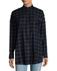 Helmut Lang Wool Chequered Shoulder Tab Shirt - Black
