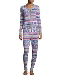 Jane And Bleecker - Geometric Ribbed Pajama - Lyst